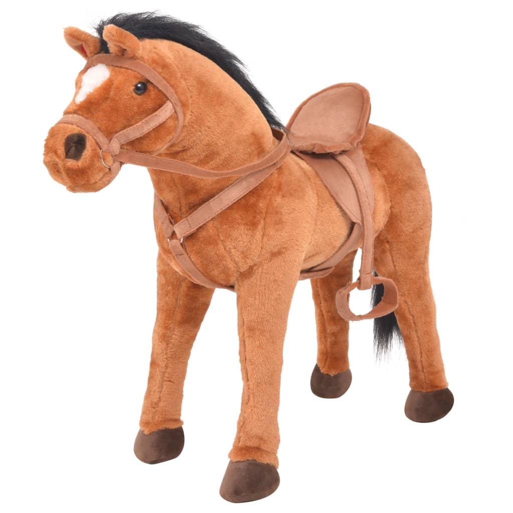 vidaXL Stojící plyšová hračka kůň hnědý