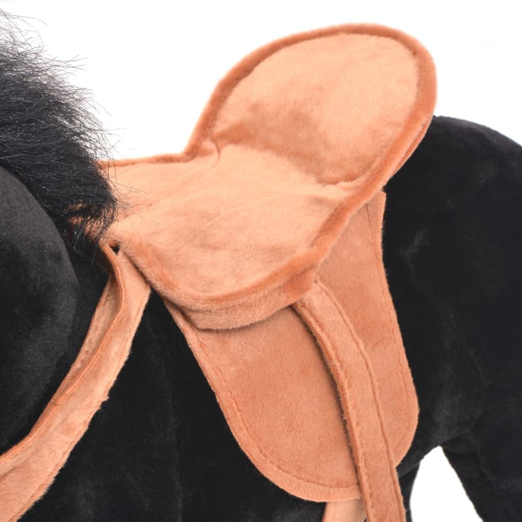 Staand knuffelpaard pluche zwart