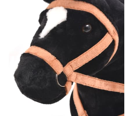 vidaXL Staand knuffelpaard pluche zwart[4/6]