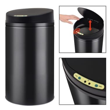vidaXL Coș de gunoi cu senzor automat 42 L, negru[2/7]