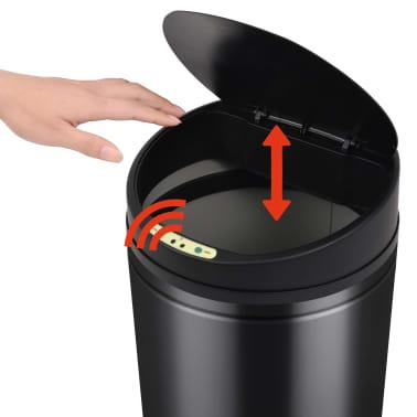 vidaXL Coș de gunoi cu senzor automat 42 L, negru[4/7]