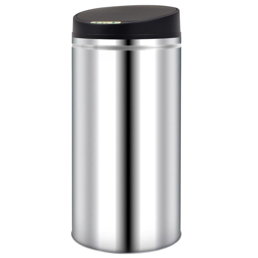 vidaXL Pubelă de gunoi cu senzor automat, 52 L, oțel inoxidabil poza vidaxl.ro