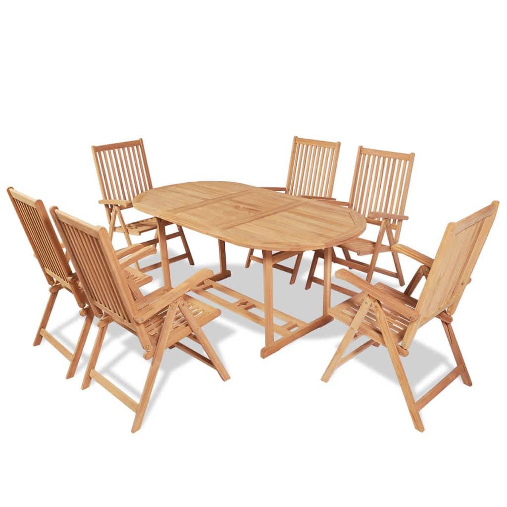 vidaXL Zahradní nábytek jídelní set, 7 kusů, teak
