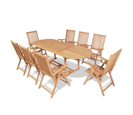 vidaXL 9 Piece Outdoor Dining Set with Folding Chairs Solid Teak Wood
