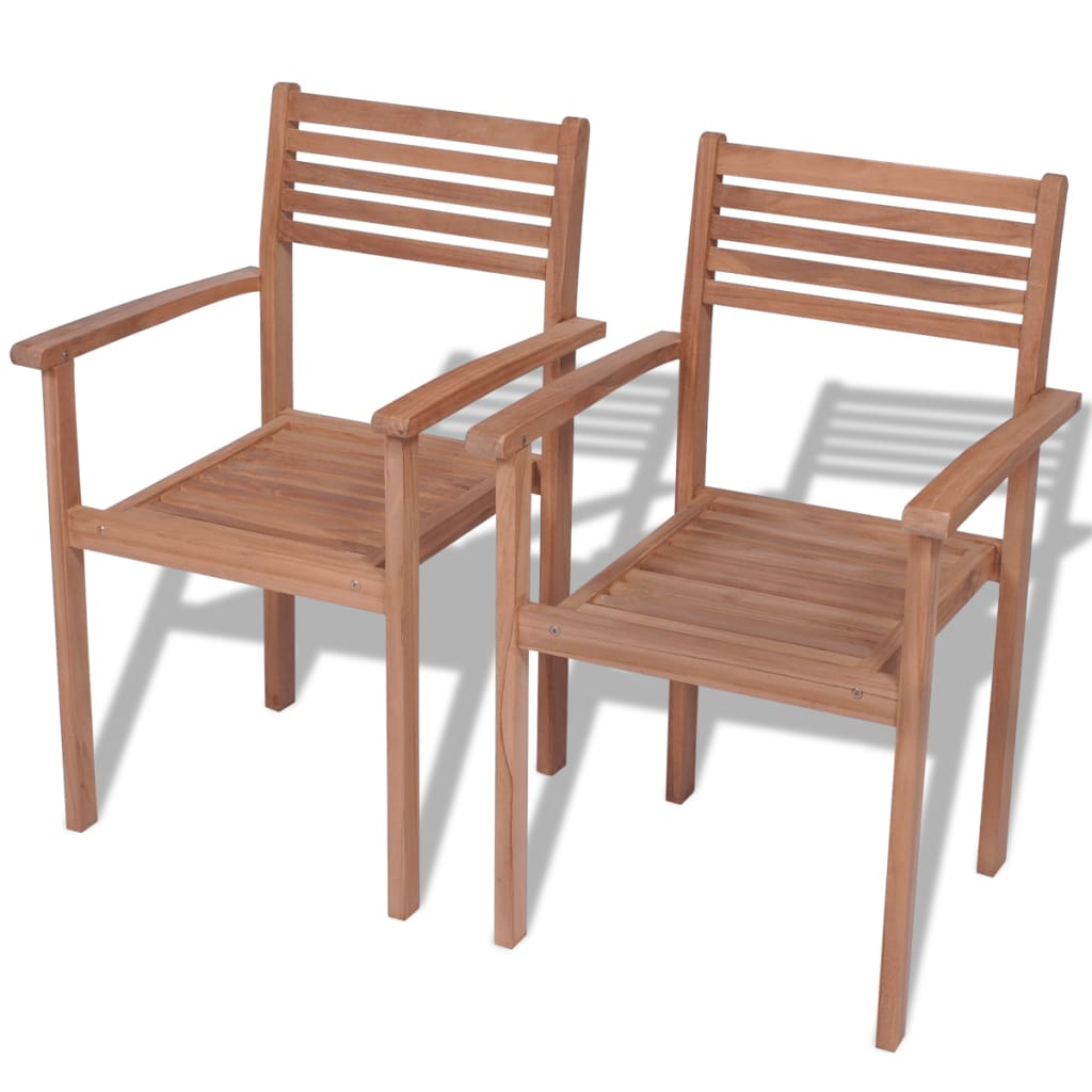vidaXL Καρέκλες Εξωτερικού Χώρου Στοιβαζόμενες 2 τεμ. Ξύλο Teak