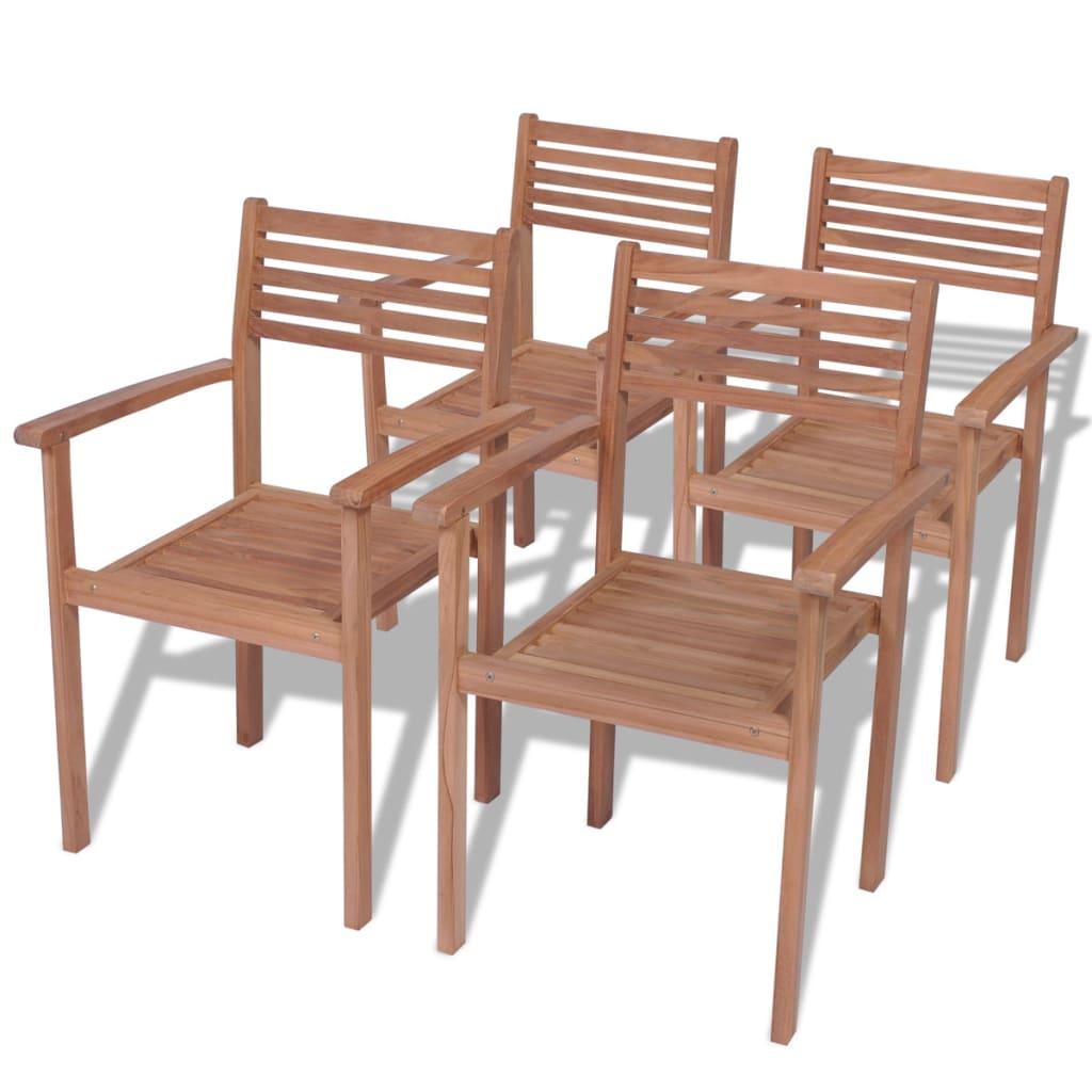 vidaXL Καρέκλες Εξωτερικού Χώρου Στοιβαζόμενες 4 τεμ. από Ξύλο Teak