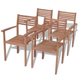 vidaXL Καρέκλες Κήπου Στοιβαζόμενες 4 τεμ. από Μασίφ Ξύλο Teak