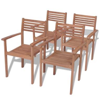 Vidaxl sillas apilables para exterior de madera de teca 4 for Sillas de madera para exterior