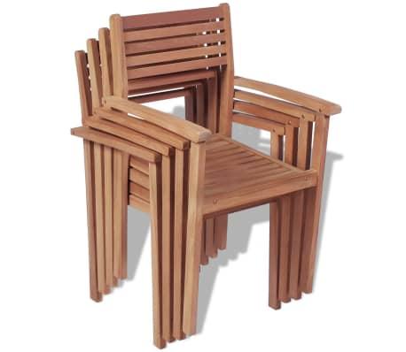 vidaXL Krzesła ogrodowe sztaplowane, 4 szt., lite drewno tekowe[2/7]