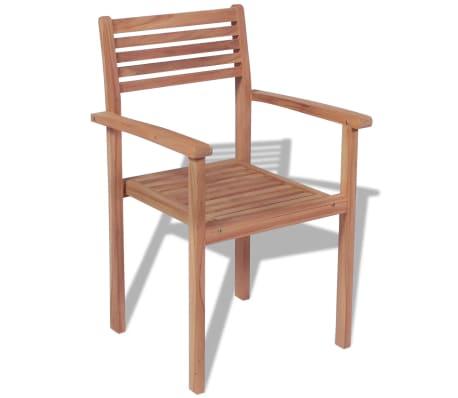 Vidaxl sillas apilables para exterior de madera de teca 4 for Sillas apilables