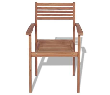 vidaXL Krzesła ogrodowe sztaplowane, 4 szt., lite drewno tekowe[4/7]