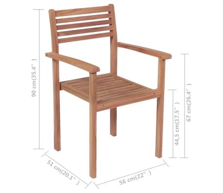 Vidaxl sillas apilables para exterior de madera de teca 4 for Sillas para exterior