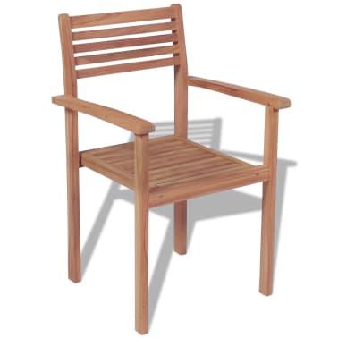 vidaXL Krzesła ogrodowe sztaplowane, 4 szt., lite drewno tekowe[3/7]