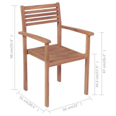 vidaXL Krzesła ogrodowe sztaplowane, 4 szt., lite drewno tekowe[7/7]