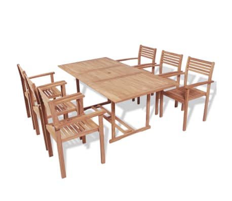 vidaXL Mobilier à dîner d'extérieur 7 pcs Bois de teck solide