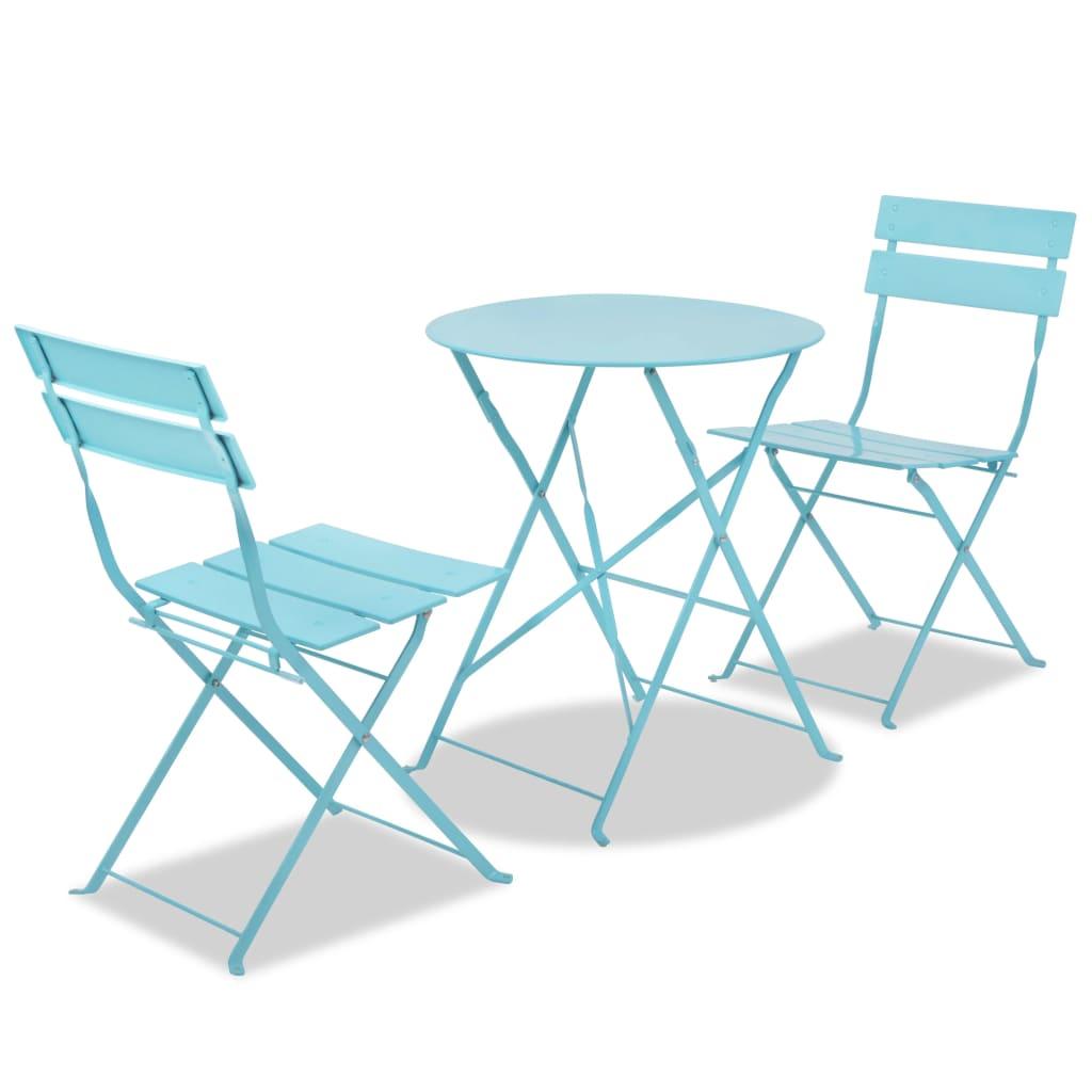 vidaXL Balkonový nábytek bistro set ocelový modrý