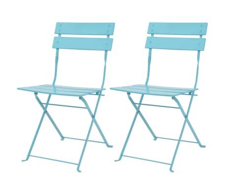 vidaXL Conjunto de muebles de jardín bistró 3 piezas acero azul ...