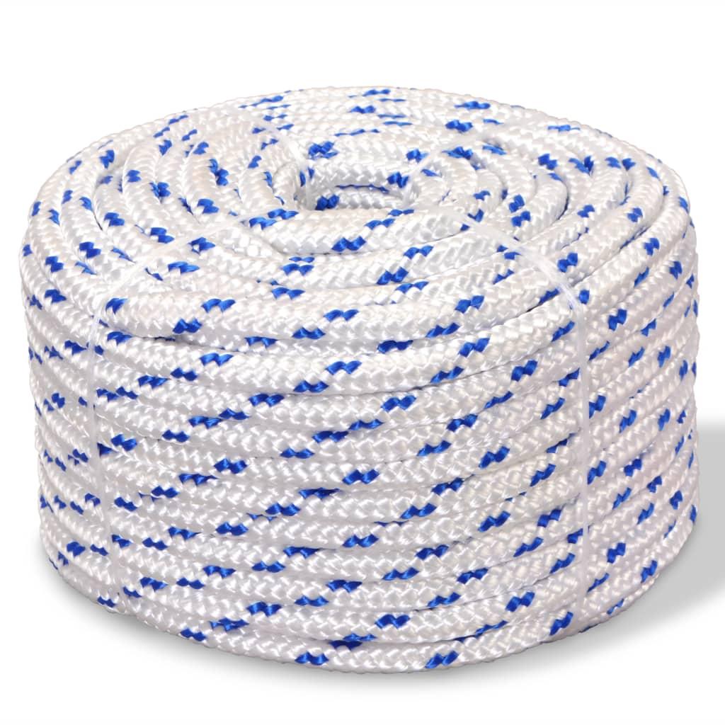 Námořní lodní lano, polypropylen, 10 mm, 50 m, bílá