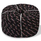 vidaXL pietauvošanās virve, 14 mm, 50 m, polipropilēns, melna