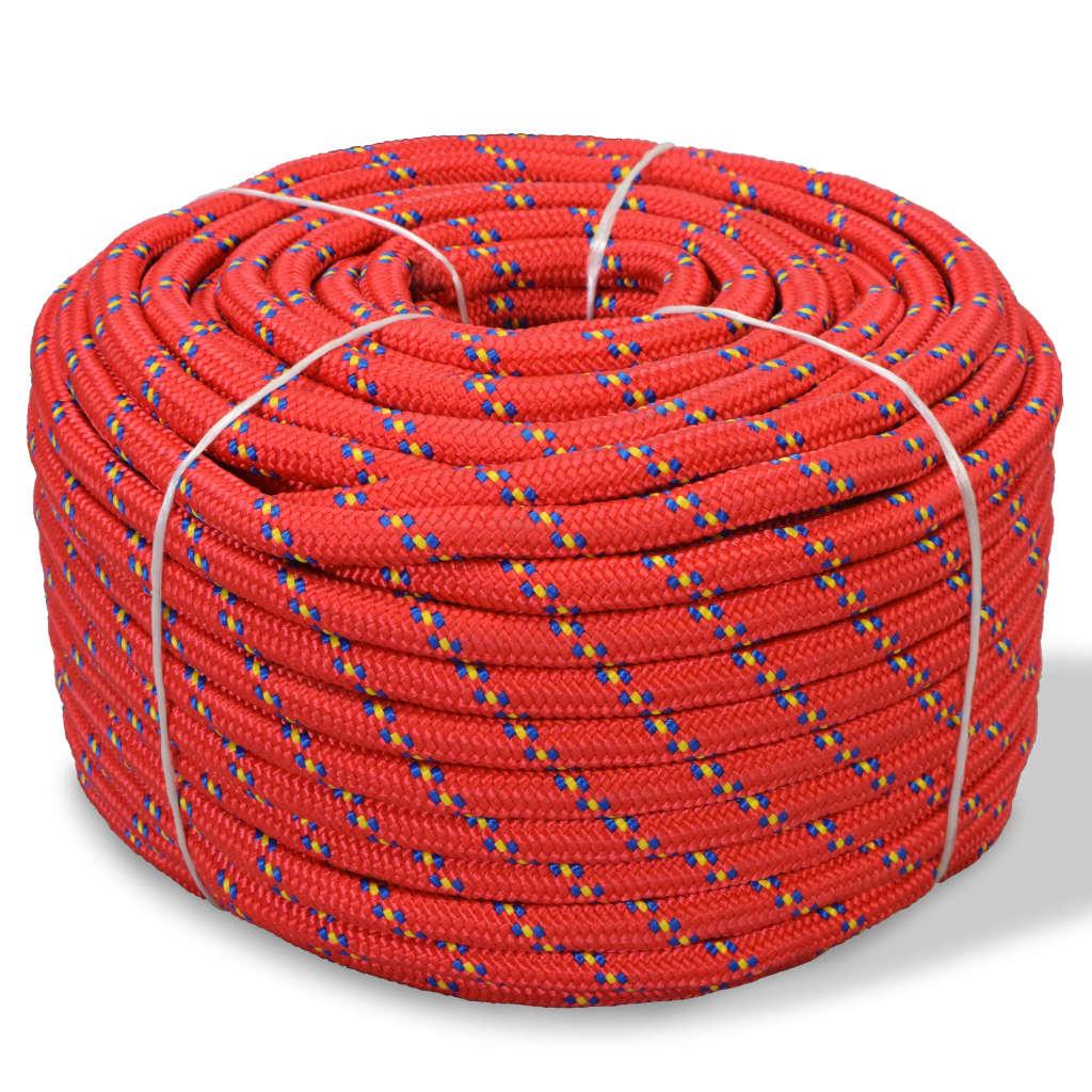 Námořní lodní lano, polypropylen, 12 mm, 50 m, červené