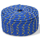 vidaXL pietauvošanās virve, 6 mm, 100 m, polipropilēns, zila