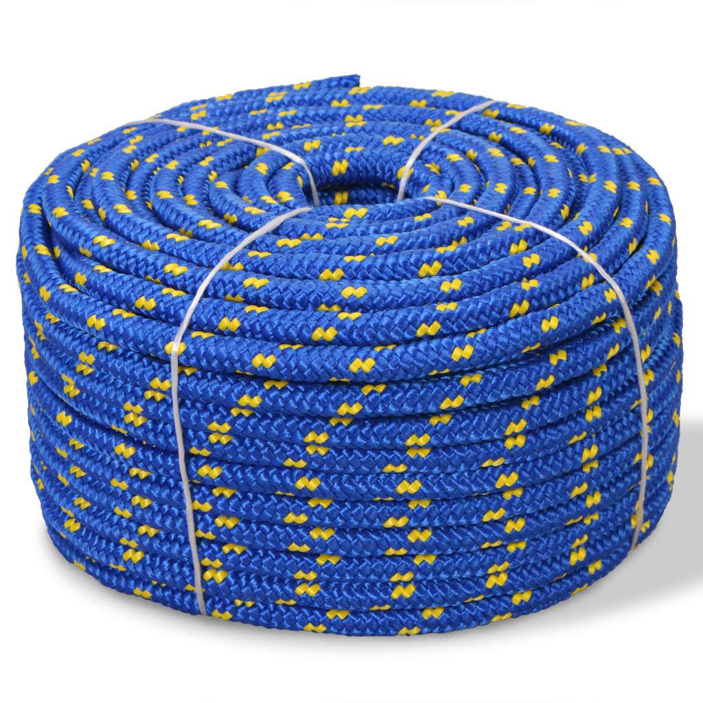 Námořní lodní lano, polypropylen, 10 mm, 50 m, modrá