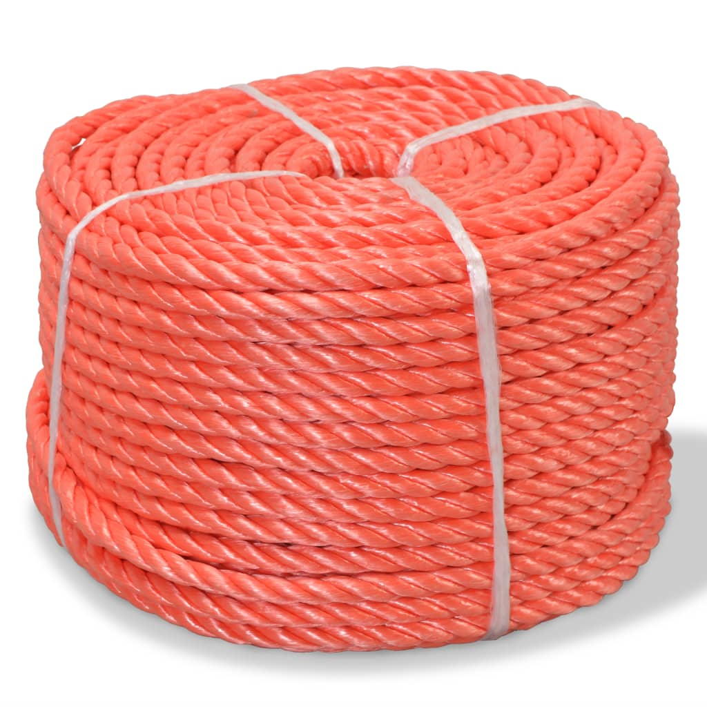 Kroucené lano, polypropylen, 12 mm, 100 m, oranžová