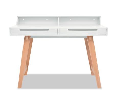 vidaXL Schreibtisch MDF Buchenholz 110 x 60 x 85 cm Weiß[2/6]