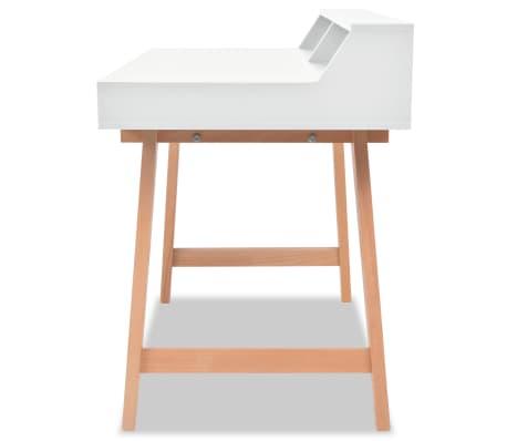 vidaXL Rašomasis stalas, MDF, bukmedis, 110x60x85cm, baltos sp.[3/6]