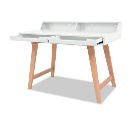 vidaXL Schreibtisch MDF Buchenholz 110 x 60 x 85 cm Weiß[4/6]