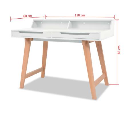 vidaXL Rašomasis stalas, MDF, bukmedis, 110x60x85cm, baltos sp.[6/6]
