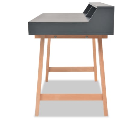 Vidaxl schreibtisch mdf buchenholz 110 x 60 x 85 cm grau for Buchenholz schreibtisch
