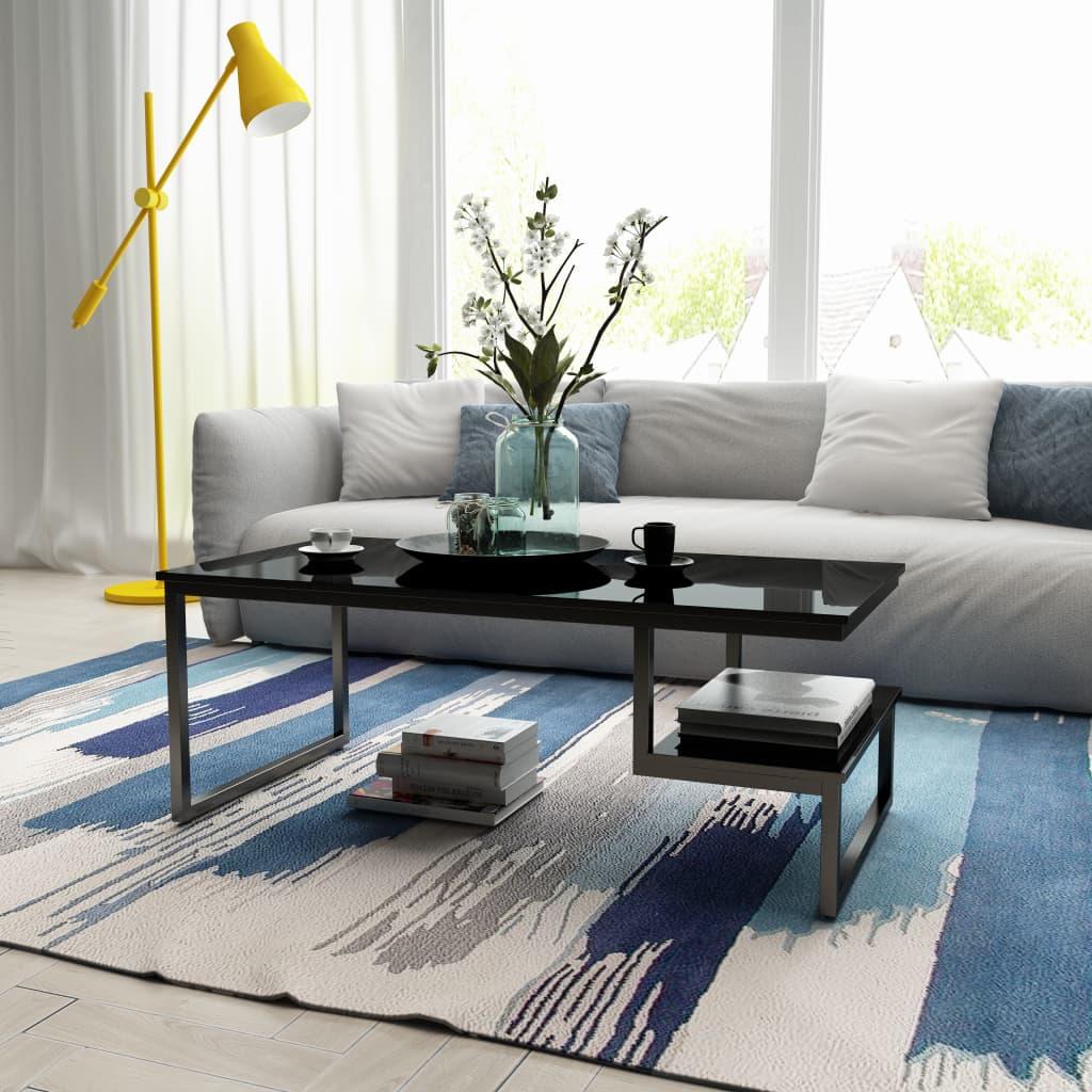 vidaXL Konferenční stolek s vysokým leskem, černý, 120x60x45 cm