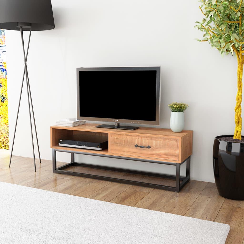 vidaXL Comodă TV din MDF, oțel 120x35x45 cm, maro poza 2021 vidaXL