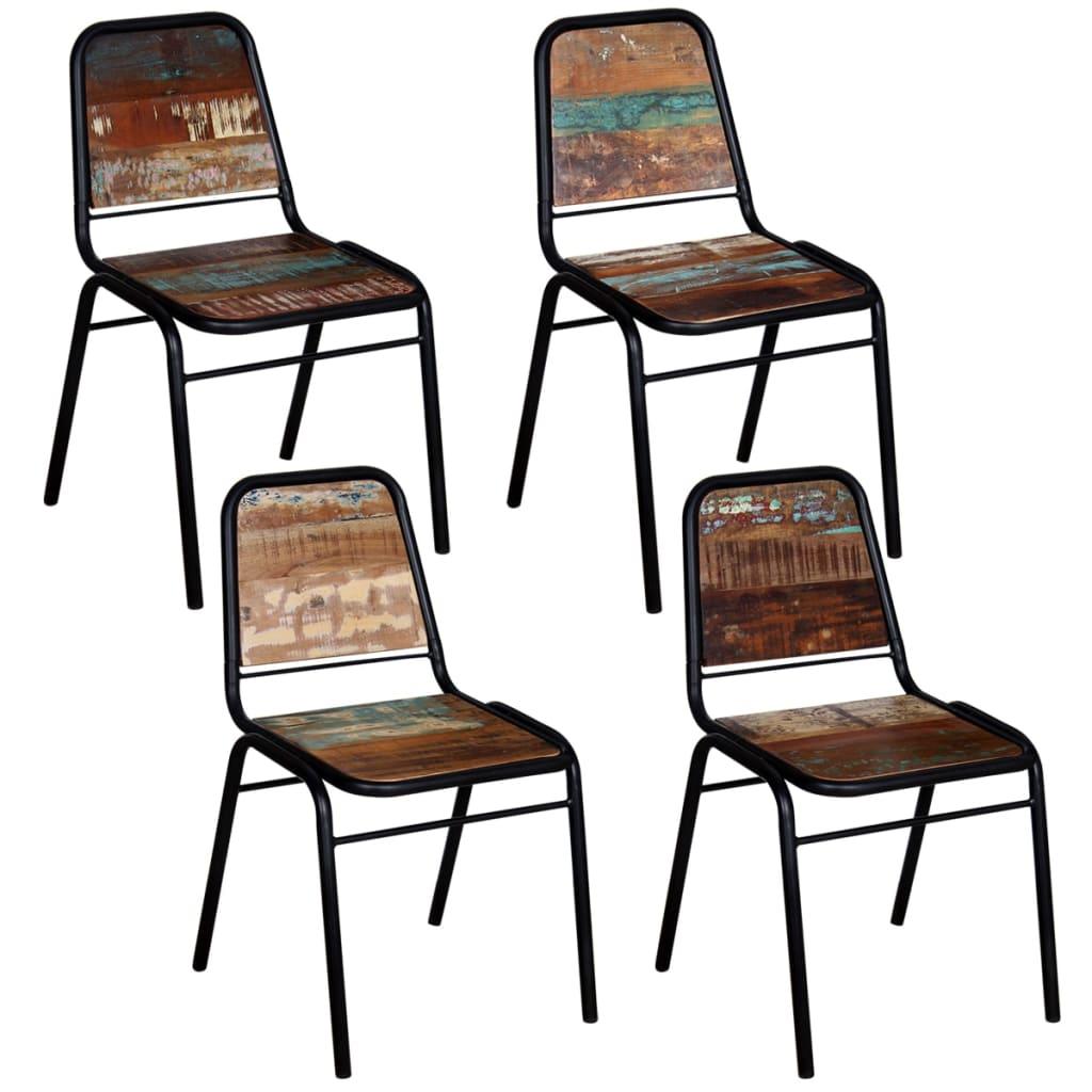 vidaXL Καρέκλες Τραπεζαρίας 4 τεμ. 44x59x89 εκ. Μασίφ Ανακυκλ. Ξύλο