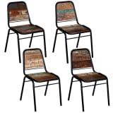 vidaXL Spisestoler 4 stk massivt gjenvunnet tre 44x59x89 cm (2x244246)