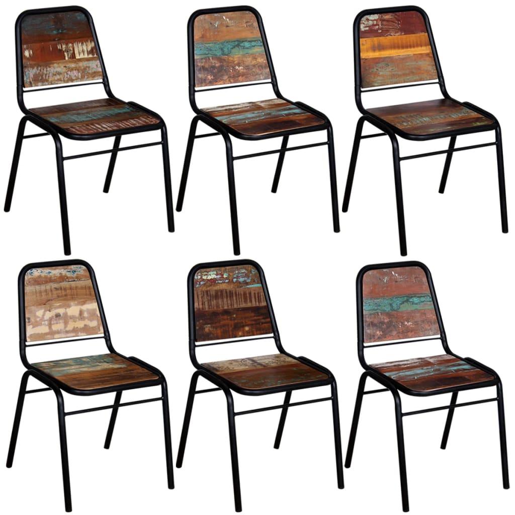 vidaXL Καρέκλες Τραπεζαρίας 6 τεμ. 44x59x89 εκ. Μασίφ Ανακυκλ. Ξύλο