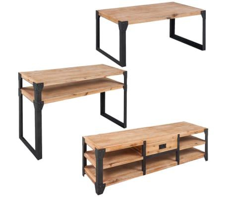 vidaXL 3-tlg. Wohnzimmermöbel-Set TV-Tisch Konsolentisch Möbel ...