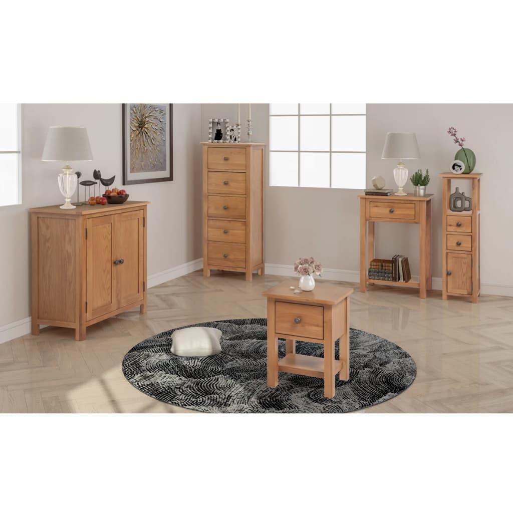 vidaXL Woonkamer meubelset massief eikenhout 5-delig