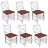 vidaXL Трапезни столове, 6 бр, тиково дърво и махагон масив
