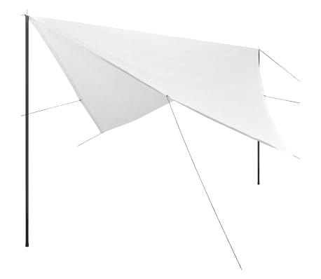 vidaXL HDPE postidega päikesepuri kandiline, 4 x 4 m valge