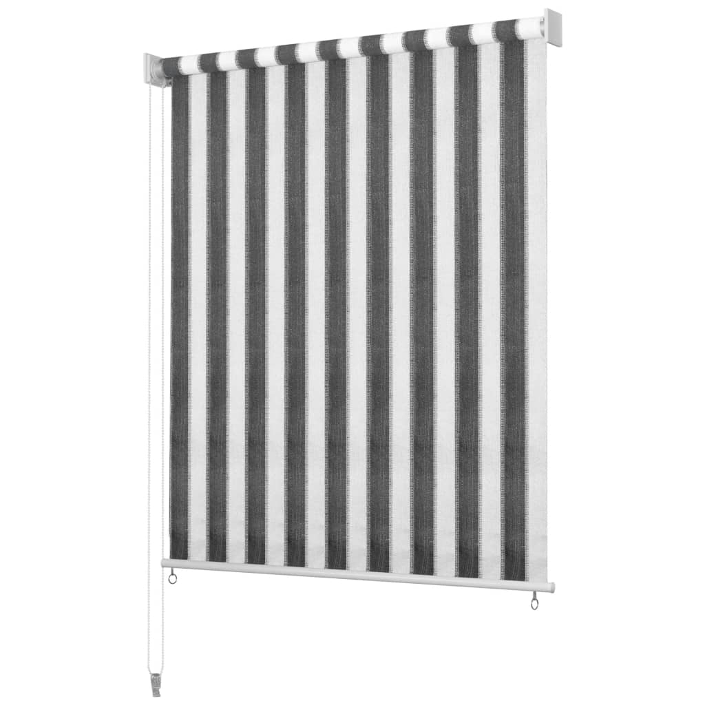 vidaXL Στόρι Σκίασης Ρόλερ Εξωτ. Χώρου Ριγέ Ανθρακί/Λευκό 100×140 εκ.