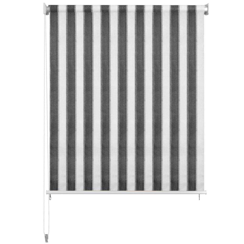 Rolgordijn voor buiten 400x140 cm antraciet en wit gestreept