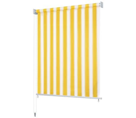 vidaXL Rolgordijn voor buiten 120x140 cm geel en wit gestreept