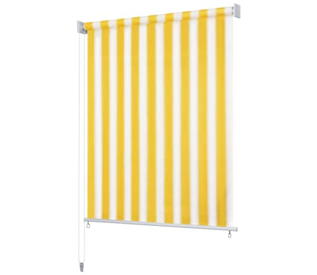 vidaXL Jaluzea rulou de exterior, 220 x 230 cm, dungi galben și alb