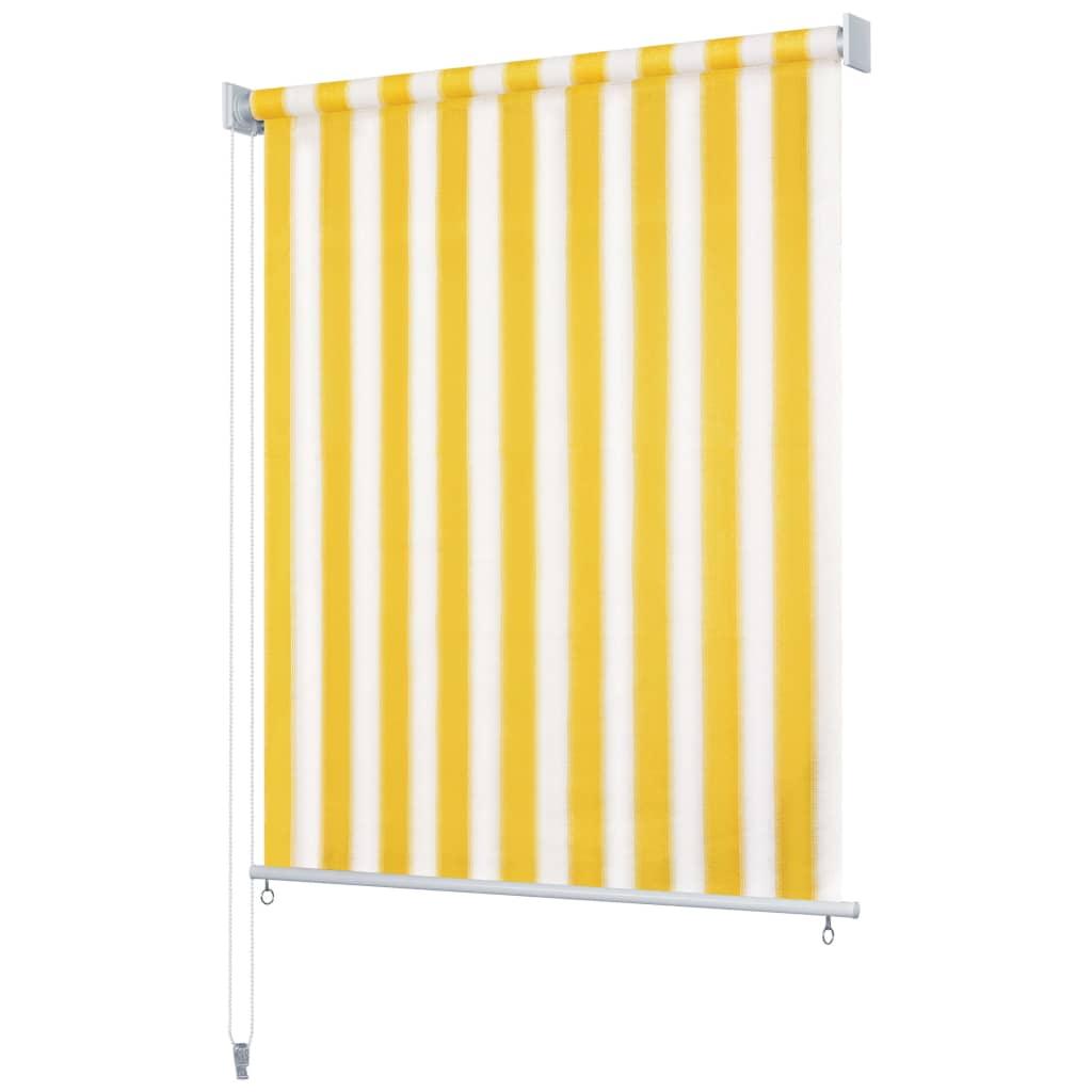 vidaXL Utendørs rullegardin 350X230 cm gul og hvit stripe