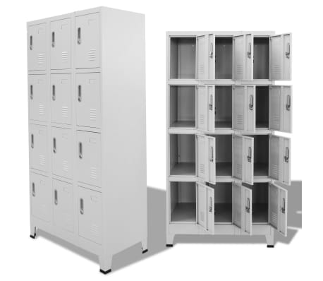 "vidaXL Locker Cabinet with 12 Compartments 35.4""x17.7""x70.9""[1/8]"