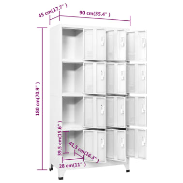 "vidaXL Locker Cabinet with 12 Compartments 35.4""x17.7""x70.9""[8/8]"