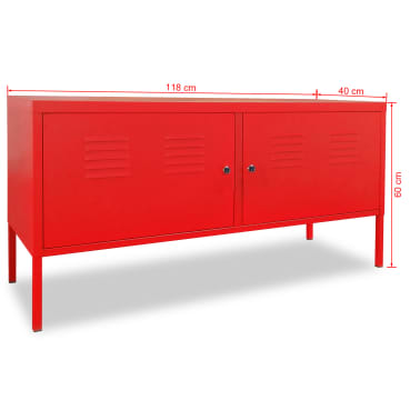 "vidaXL TV Cabinet 46.5""x15.7""x23.6"" Red[9/9]"