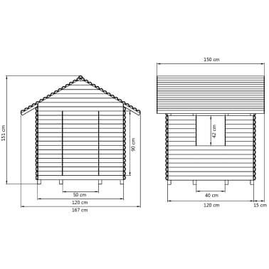 vidaXL Žaidimų namelis, FSC impregnuota pušies mediena, 167x150x151cm[4/4]